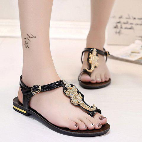 Outfit Stylish Metal and Rhinestone Design Sandals For Women - 36 BLACK Mobile