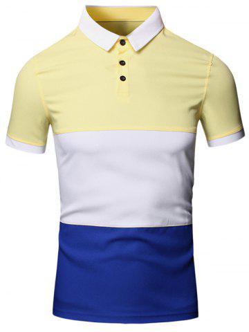 Yellow 3xl Turn Down Collar Color Block Splicing Design