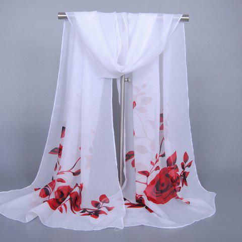 Discount Chic Red Roses and Leaves Pattern Chiffon Scarf For Women WHITE
