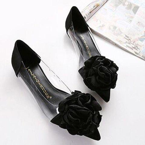 Fancy Graceful Flower and Pointed Toe Design Flat Shoes For Women - 38 BLACK Mobile