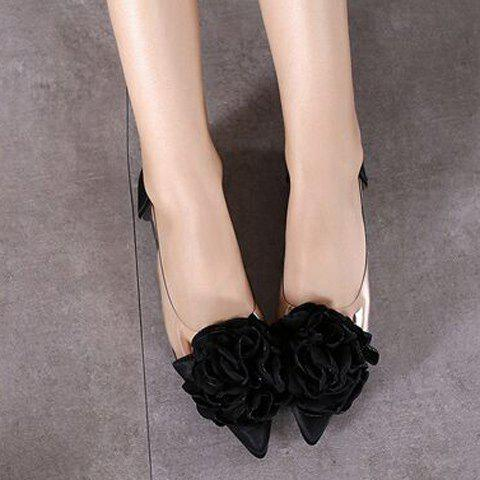 Outfit Graceful Flower and Pointed Toe Design Flat Shoes For Women - 38 BLACK Mobile
