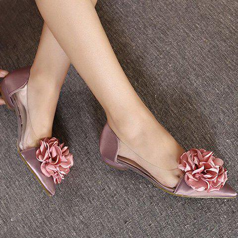 Best Graceful Flower and Pointed Toe Design Flat Shoes For Women - 36 PALE PINKISH GREY Mobile
