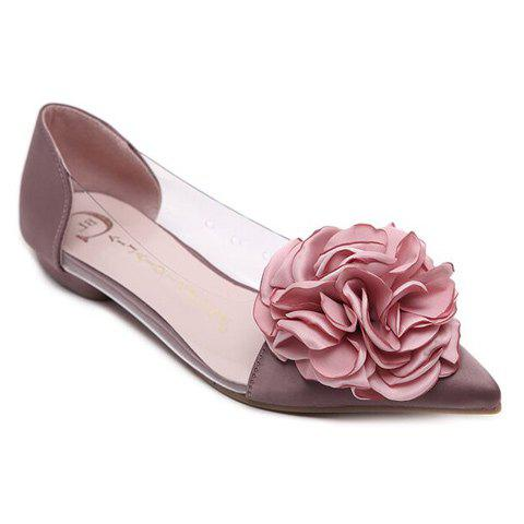 Unique Graceful Flower and Pointed Toe Design Flat Shoes For Women - 36 PALE PINKISH GREY Mobile