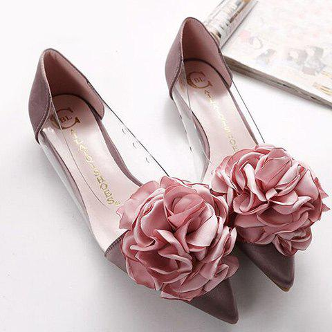 Latest Graceful Flower and Pointed Toe Design Flat Shoes For Women - 36 PALE PINKISH GREY Mobile