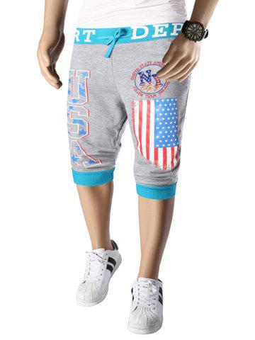 Outfit Letters  American Flag Print Color Block Beam Feet Lace-Up Capri Pants For Men LIGHT GRAY 2XL