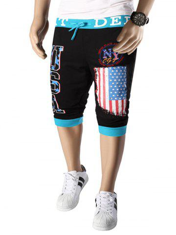 Letters  American Flag Print Color Block Beam Feet Lace-Up Capri Pants For Men - Blue And Black - 2xl