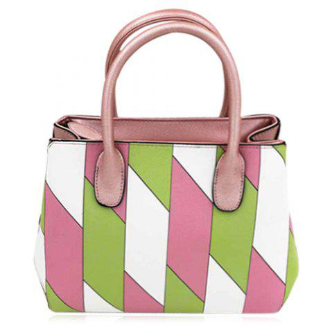 Shops Elegant Color Block and Checked Design Tote Bag For Women
