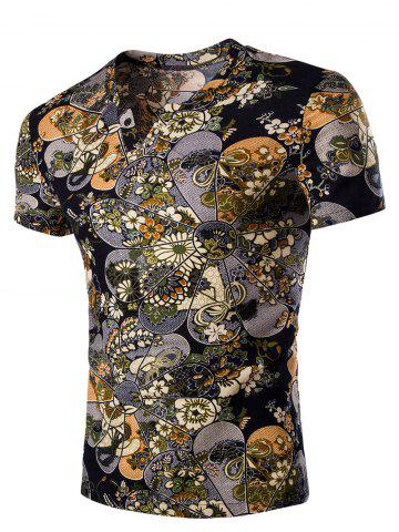 Discount Casual V Neck Flower Printing Short Sleeves T-Shirt For Men COLORMIX 2XL
