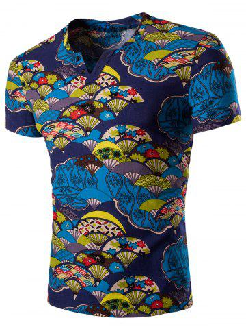 Latest Casual Short Sleeves Fan Printed T-Shirt For Men DEEP BLUE 2XL
