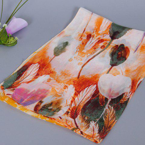 Outfit Chic Handpainted Tulip Pattern Chiffon Scarf For Women - ORANGE  Mobile