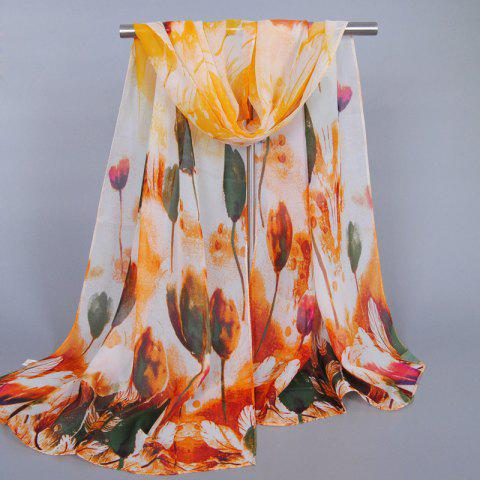 Shops Chic Handpainted Tulip Pattern Chiffon Scarf For Women