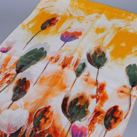 Chic Chic Handpainted Tulip Pattern Chiffon Scarf For Women - ORANGE  Mobile