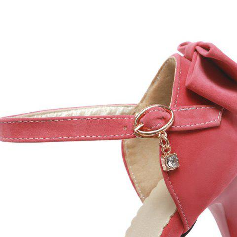 Sale Fashion Bowknot and Two-Piece Design Pumps For Women - 39 WATERMELON RED Mobile