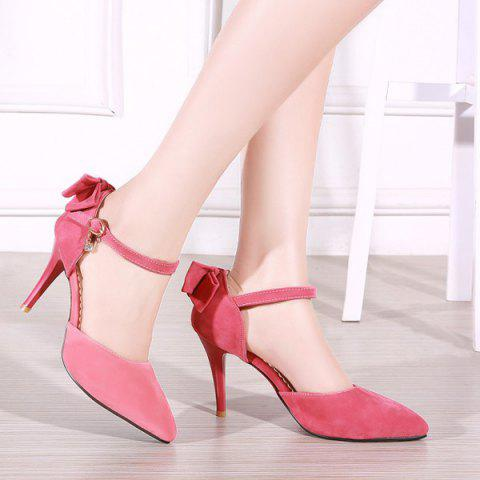 Discount Fashion Bowknot and Two-Piece Design Pumps For Women - 39 WATERMELON RED Mobile