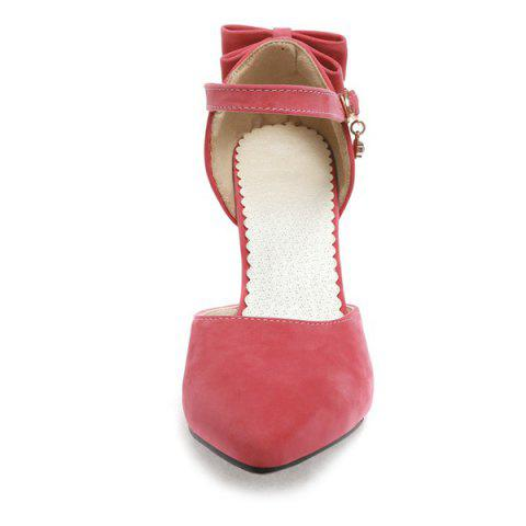 Best Fashion Bowknot and Two-Piece Design Pumps For Women - 39 WATERMELON RED Mobile