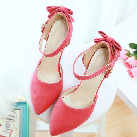 Buy Fashion Bowknot and Two-Piece Design Pumps For Women - 39 WATERMELON RED Mobile