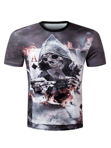 Shop Casual Pullover Round Collar 3D Skull Printed T-Shirt For Men