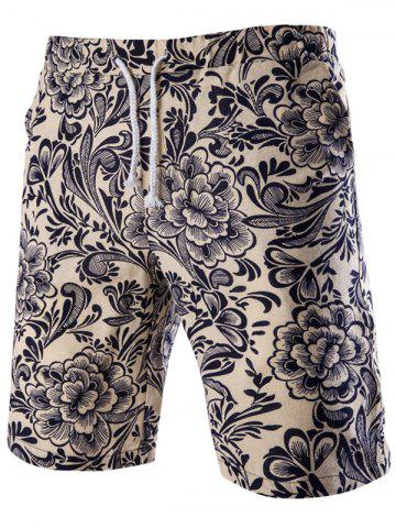 Fancy Casual Lace Up Flower Printing Boardshorts For Men