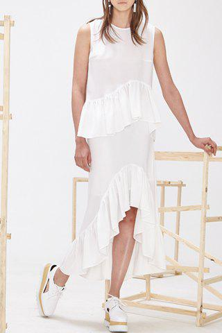 Shop Ruffled Tank Top and Asymmetric Skirt Twinset
