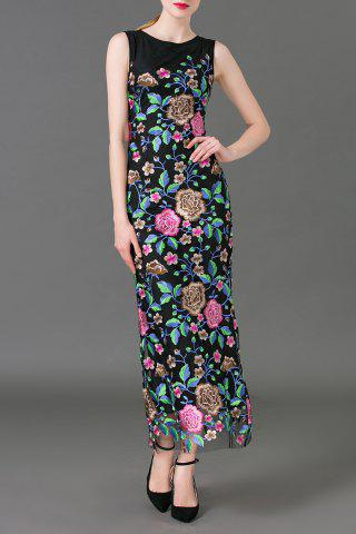 Best Flower Embroidered Maxi Sleeveless Dress BLACK XL