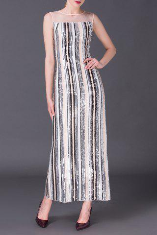 Store Sequin Stripe Maxi Evening Dress
