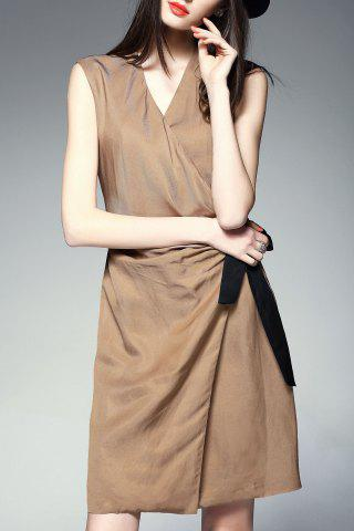 Trendy V-Neck Self Tie Wrap Dress