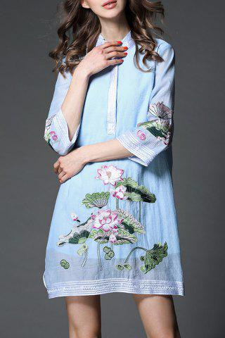 Hot Lotus Embroidered Dress