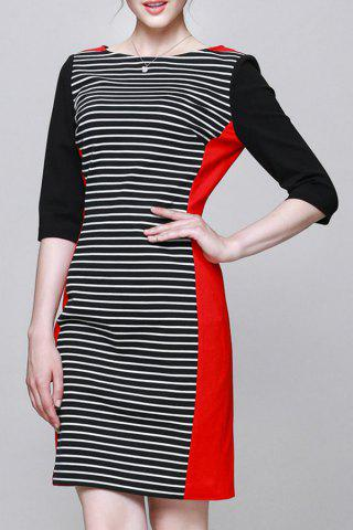 Store Slash Neck Striped Bodycon Dress
