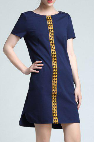 Affordable Round Collar Color Block Loose Dress