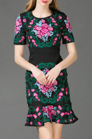 Online Floral Embroidered Mermaid Dress