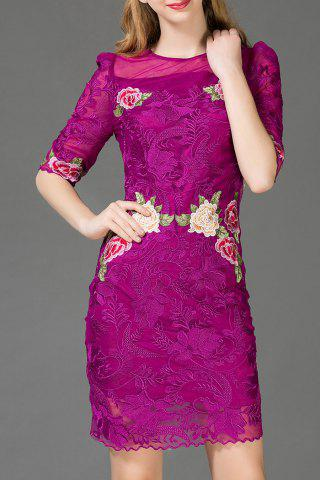 Buy Floral Embroidered Voile Bodycon Dress
