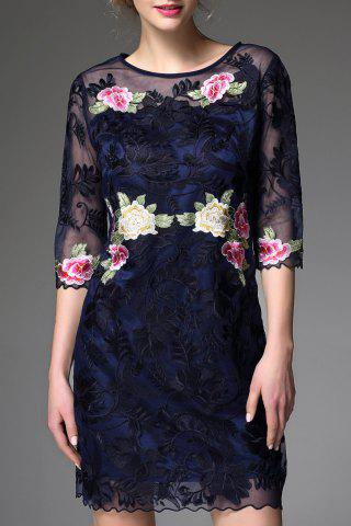 Discount Round Collar Voile Floral Embroidery Dress
