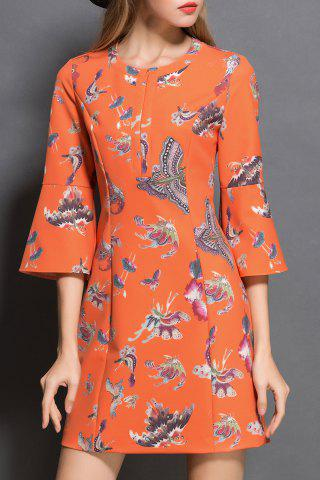 New Butterfly Print Front Zippered Dress