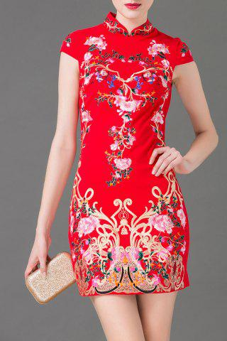 Online Flower Embroidered Mini Bodycon Dress
