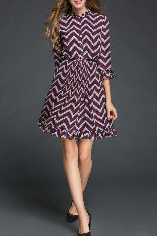 Store Chevron Pattern Flounced Dress