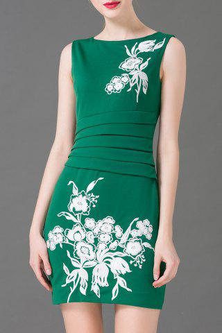 Shops Flower Embroidered Ruched Sleeveless Skinny Dress