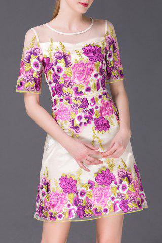Shop Flower Embroidered A Line Mini Dress