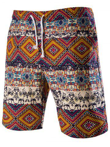Latest Drawstring Tribal Printed Loose Fit Boardshorts - 2XL RED Mobile