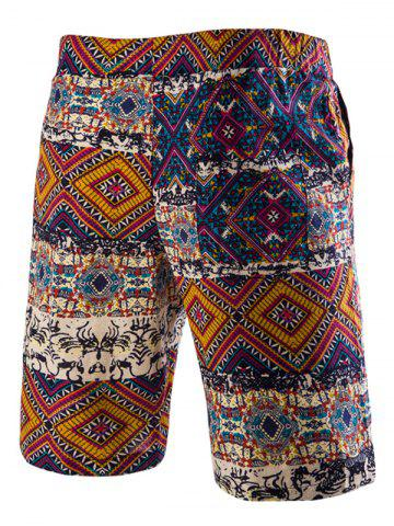 Outfits Drawstring Tribal Printed Loose Fit Boardshorts - 2XL RED Mobile