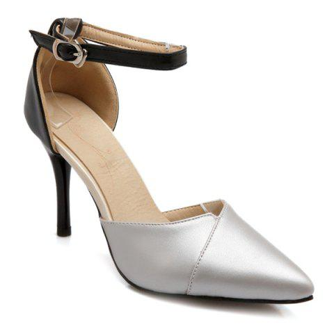 Fancy Graceful Two-Piece and Hit Color Design Pumps For Women - 37 SILVER Mobile