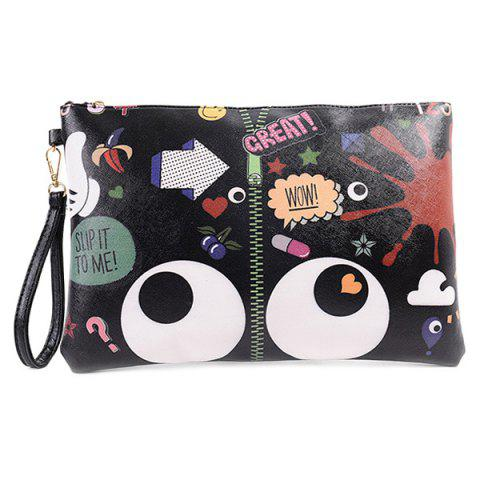 Cheap Stylish Zip and Print Design Clutch Bag For Women BLACK