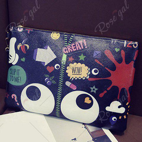 Fancy Stylish Zip and Print Design Clutch Bag For Women - BLACK  Mobile