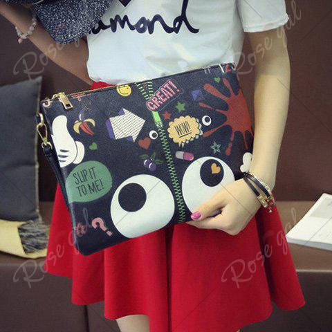 Outfits Stylish Zip and Print Design Clutch Bag For Women - BLACK  Mobile