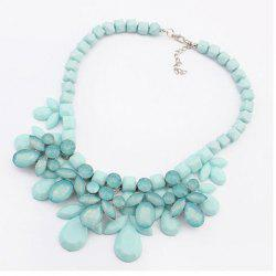 Luxury Multi-Layered Water Drop Shape Pendant Necklace For Women - BLUE