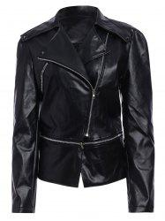 Zipper Up Faux Leather Biker Jacket - BLACK