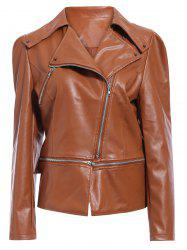 Zipper Up Faux Leather Biker Jacket -
