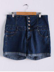 Stylish Buttoned High Waist Denim Blue Shorts for Women - DEEP BLUE