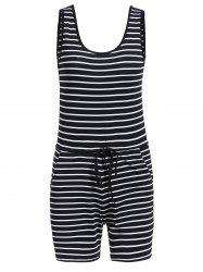 Casual U-Neck Striped Sleeveless Romper For Women