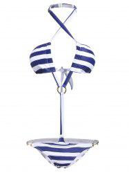 Elegant Halter Neck Striped Lace-Up One-Piece Swimsuit For Women -