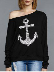 Stylish Skew Neck Long Sleeve Anchor Pattern Women's Tee -